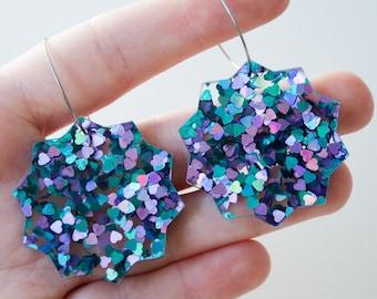 Fallen star large dangle / drop earrings   Peacock glitter   Laser cut acrylic   Handmade