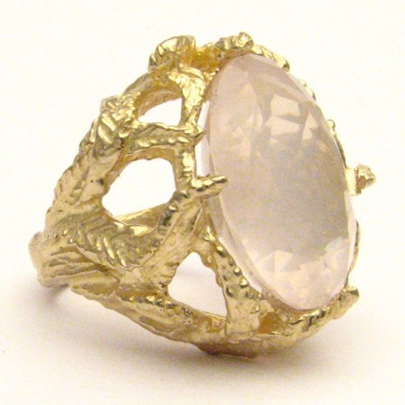 Handmade 14kt Gold Rose Quartz Claw Ring 18x13mm 12.5ct 11 Grams of Gold