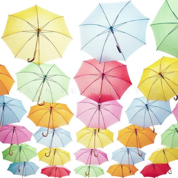 rainbow umbrella, umbrella print, umbrella art, umbrella wall art, colorful decor, colorful umbrellas, colorful art, red umbrella