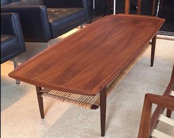 POUL JENSEN Danish Modern Coffee Table SELIG Denmark - Walnut Cane Mid Century