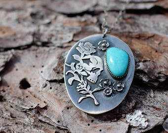 Gothic Skull, Roses, and Kingman Turquoise. Sterling Silver Artisan Metalsmithing Handmade Skull. Gift for Goths, Punks, Awesome People.