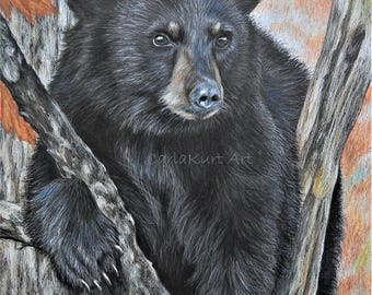 Bear Art BACKYARD VISITOR Original Artwork by Carla Kurt