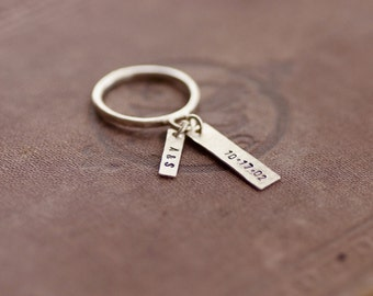 Dangling Charm Ring - Sterling Silver - Personalized Stamped Tags