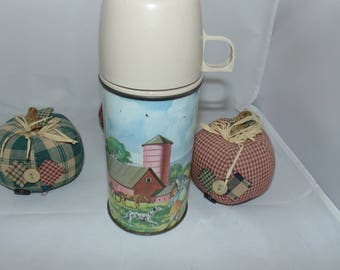Vintage Thermos Brand 1962 Kids STEEL THERMOS FARM Scene bottle number 2046 Cute 10 oz