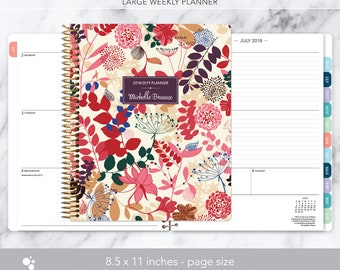 8.5x11 weekly planner 2018 2019   choose your start month   12 month calendar   LARGE WEEKLY PLANNER   purple pink floral