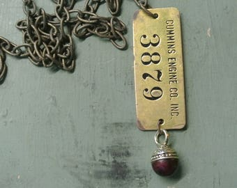 Cummins Engine Tag Necklace, Unique Cummins Engine Co #3879, Brass Chain, UPcycled Repurposed, Unique, One of a Kind By UPcycled Works