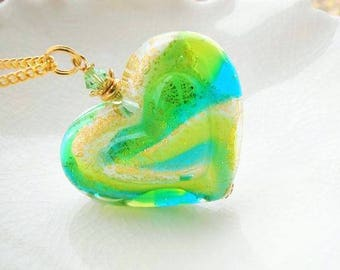 Murano vert collier, Collier coeur en verre Murano vert, Double Murano coeur collier