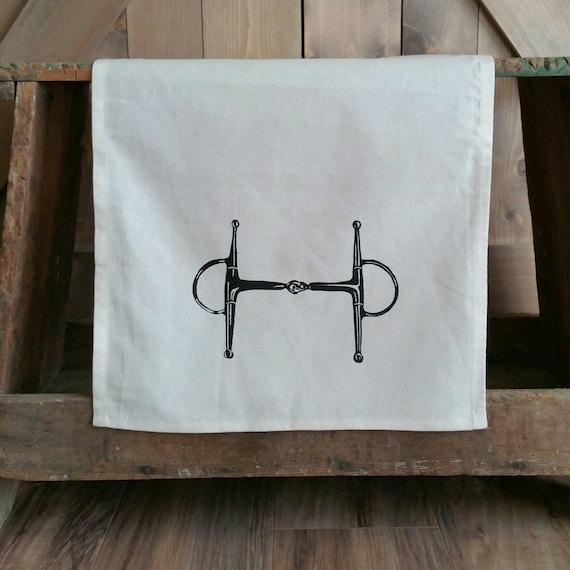 Tea Towel- Full Cheek Snaffle Bit- Unbleached Cotton Equestrian Tea Towel
