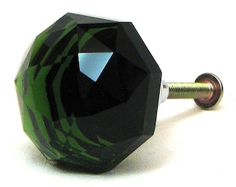 Emerald Green Pull Knob Ten Drawer Handle Diamond Cut K9 Crystal Doorknob Cabinet Furniture Hardware TEN Pack