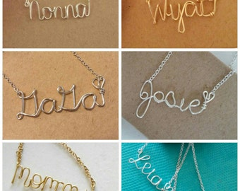 Name necklace. Custom PERSONALIZED name / word necklace. Mommy. Gift Personalized gift. Gold. Silver. Bridesmaid. Wedding. Love