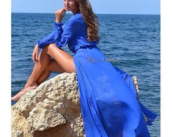 Blue tunic, resort wear, Kaftan, Maxi dress, elegant, swim cover, beach dress, evening dress, caftan, luxury, beachwear