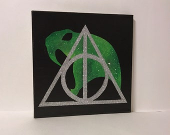 """Clearance - """"Slytherin"""" - Painted Canvas Inspired by Harry Potter"""