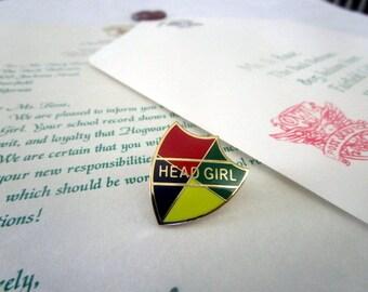 Wizarding School Head Boy or Head Girl Congratulatory Letter & Pin Set