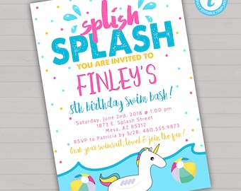 Pool party invite etsy swim birthday party invitation swimming invitation splish splash birthday invitation unicorn birthday invitation filmwisefo