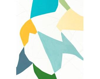 Original Painting on Paper-Silhouette-Teal-Tangerine-Yellow-Kelly Green-Minimalist-Organic-Shapes-Original-Modern Art-Cutout-Abstract-Beach