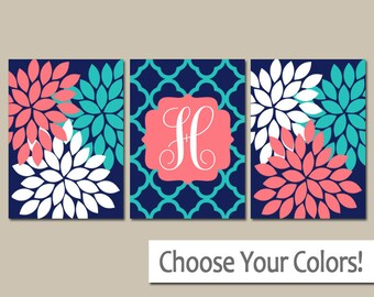 Monogram Wall Art, Coral Navy Turquoise Baby Girl Nursery Wall Art, Girl Bedroom Wall Decor, CANVAS or Prints Girl Nursery Decor  Set of 3