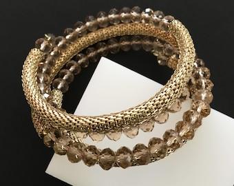 Coiled Beaded Bracelet, Vintage Jewelry, Gold Mesh Bracelet, Gold Wrap Bracelet, Faceted Crystal Beads, Snake Bracelet Serpent Snake Jewelry