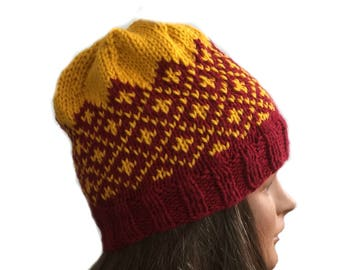 Fair Isle beanie hat, acrylic knit hat, ski hat hand knit, Icelandic knit hat, red and gold hat, hand knit ski cap, cold weather hat