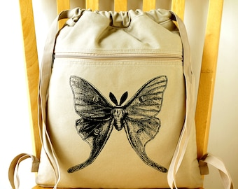 Luna Moth Canvas Backpack Laptop Bag