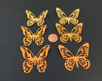 Butterfly Die Cuts 30 small orange butterfly paper embellishments scrapbook cardmaking cupcake toppers Wedding Confetti Baby shower confetti