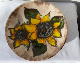 Vintage West Germany lava ceramic wall handing plate sunflowers
