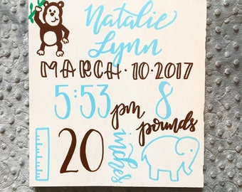 "Handpainted birth stats sign 11"" x 11"", Baby stats sign, Birth announcement sign, hand painted wood sign, baby gift, Custom baby stat sign"