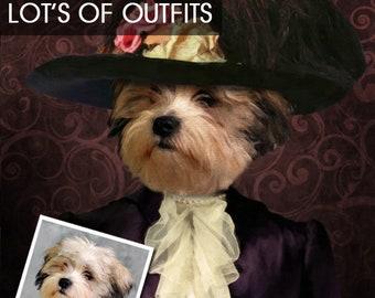 DOG PORTRAIT/ PET Portrait / Victorian dog Portrait/ Custom dog Portrait/ Personalized dog portrait/ Dog portrait/ Dog Art
