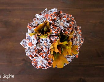 Original bouquet made of fabric and synthetic autumn leaves