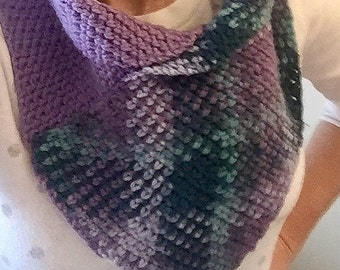 Planned pooling cowl, crochet cowl, argyle cowl, plaid cowl, hand-made cowl, planned pooling scarf, crochet scarf, easter fashion