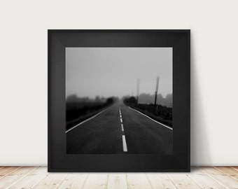 road photograph fog photograph black and white photograph dark art dark photography road print english decor england photograph