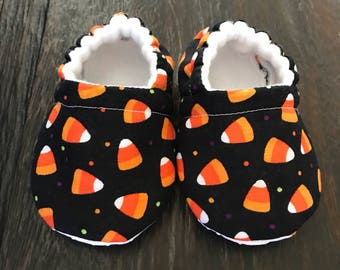 Candy corn baby booties, Candy corn baby crib shoes, baby slippers, toddler slippers