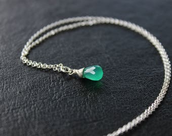 Emerald Onyx Sterling Silver Necklace