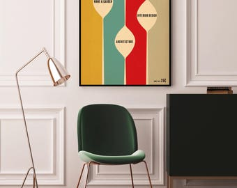 1950 ' s Style maquette Mid Century Modern style vintage Impression poster art