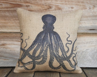 Blue Octopus Pillow, Throw Pillow, Nautical Cushion, Beach Decor, Accent Pillow, Beige