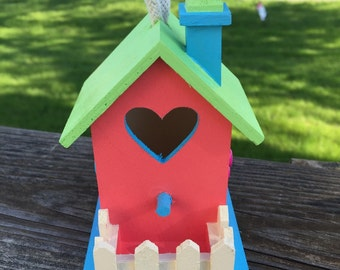 Pastel Fence and Flower Bird House Hanging Spring Summer Tropical Home Decor Garden Jenuine Crafts