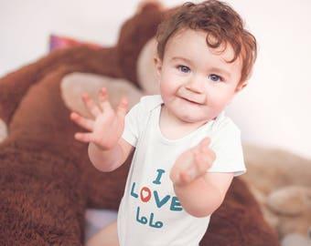 I Love mommy Baby Bodysuit (White)