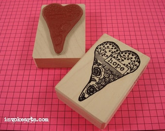 Hope Heart Stamp / Invoke Arts Collage Rubber Stamps