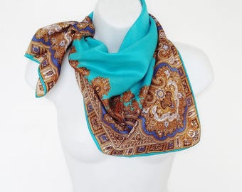 Vintage Paisley Scarf Bright Turquoise Brown Gold Bold Colour Babushka Style