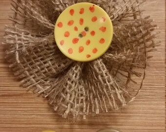 Burlap Flower and Button Magnets