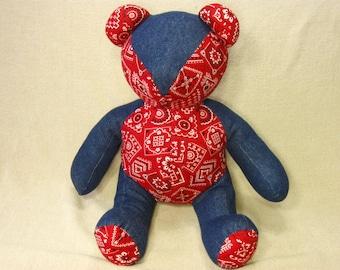 Handmade Teddy Bear, Cloth Teddy Bear, Stuffed Animal, Soft Toy, Patchwork