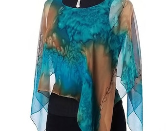 Golden Shoots - Luxury Hand Painted Silk Poncho