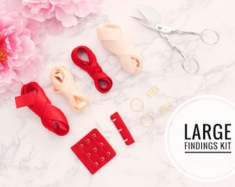 "Large Bra Findings Kit - Red Peach - Perfect for an Underwired Bra with 3/4"" Strap & Band Elastics and 3x3 Hook and Eye"