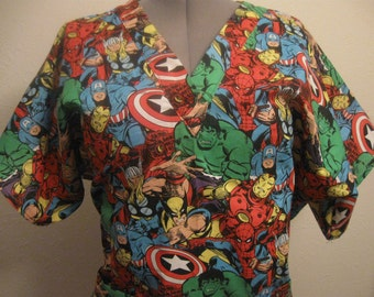 MARVEL COMIC HEROES  scrub top size large