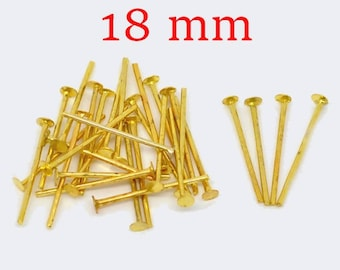 250 PCs gold plated 18 mm flat head pin