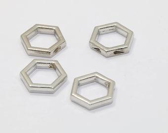 Rhodium Hexagon Hexagon Pendant, 10mm initial Pendant, Geometric Charms, Hexagon , KSM139