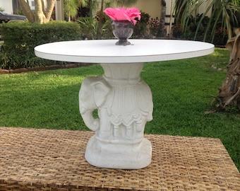ELEPHANT GARDEN STOOL Table / Whimsical Elephant Side Table with Oval top / Elephant table / Chinoiserie Decor at Retro Daisy Girl
