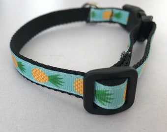 Blue with Pinapples Small 1/2 inch Dog Collar