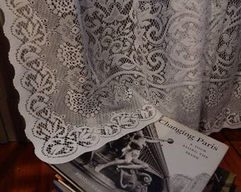 """Vintage White Cotton Lace Curtain Panel 63""""L/ Three available"""