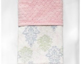 "Custom Baby Blanket: Boy or Girl -Multi Damask - Garden Collection  (aprox 29""x31"")"