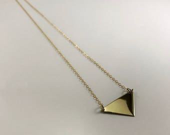 Arwa triangle polished minimalist pendant in 14k Gold Filled or 925 Sterling Silver • 2.7cm